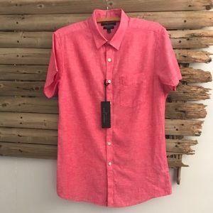 Marc Anthony linen blend button down slim fit S